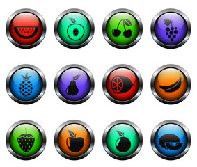 fruits vector icons on color glass buttons