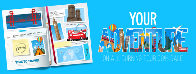 Adventure banner design, Stylish trip banner with opened album, photos, notes and stickers. Travel banner concept. Vector