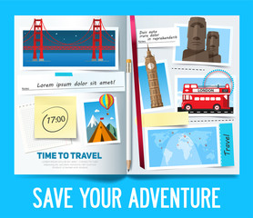 Save your adventure, Stylish trip banner with opened album, photos, notes and stickers. Travel banner concept. Vector