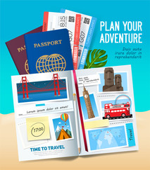 Plane your adventure, Stylish trip banner with opened album, passport, photos, notes and stickers. Travel banner concept. Vector