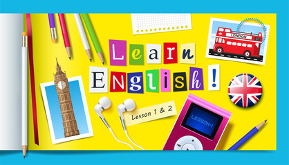 Concept of English language courses. Learn english word made with carved paper letters, pencils, mp3 player and headphones. Vector illustration