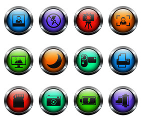 pirates vector icons on color glass buttons