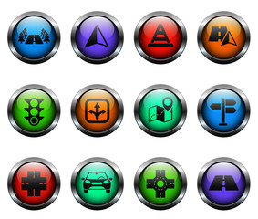 road vector icons on color glass buttons