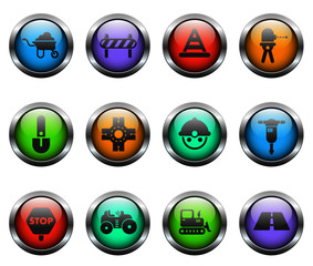 road repairs vector icons on color glass buttons
