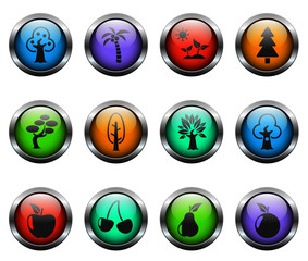 trees vector icons on color glass buttons