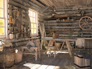 Interior of an old log barn. Workshop with many old things and working tools. 3D visualization.
