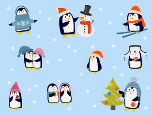 Penguin christmas vector illustration character cartoon funny cute animal antarctica polar beak pole winter bird.