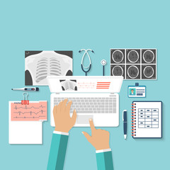 Doctor with laptop his desk studying documents of diagnostic research. Workplace doctor at table. Top view of the workplace, medical equipment. Flat design. Medical concept. Background
