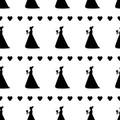 Seamless pattern with black silhouettes of the bride and hearts.