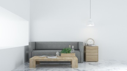 he interior relax space 3d rendering and white background minimal japanese
