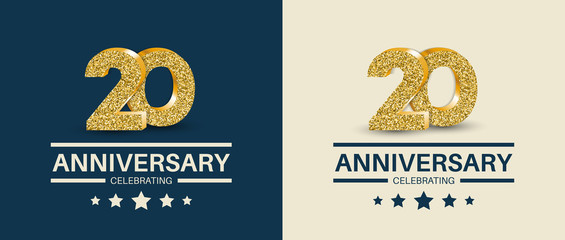 20th Anniversary celebrating cards template. Vector illustration.