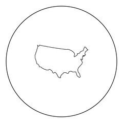 Map of America icon black color in circle
