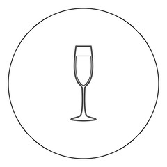 Glass of champagne icon black color in circle