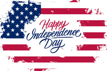 USA Happy Independence Day celebrate banner with United States national flag brush stroke background and hand lettering text design. Vector illustration.