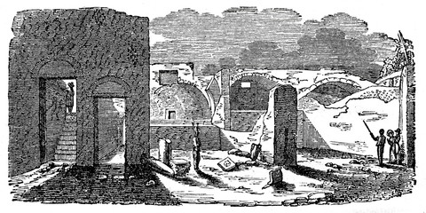 Baths excavated in 1824 to Pompeii (from Das Heller-Magazin, May 3, 1834)