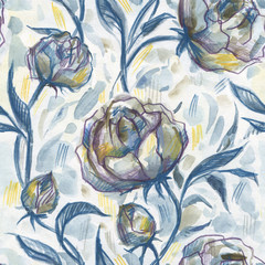 Roses. Hand Drawn Floral Pattern. Watercolor illustration, vintage style
