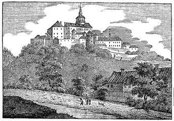 Frýdlant Castle (Schloss Friedland), Frýdlant v Čechách, Czech Republic (from Das Heller-Magazin, April 26, 1834)