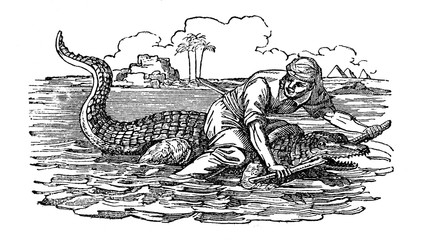 Riding a crocodile (from Das Heller-Magazin, April 26, 1834)