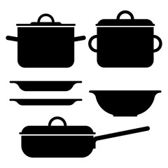 Black silhouettes of pot and plates. Isolated vector objects.