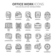 Business and office work. Documents, paperwork. Businessman. Thin line black web icon set. Outline icons collection. Circle element.