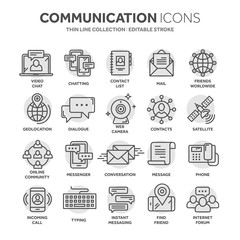Communication. Social media. Online chatting. Phone call, app messenger. Mobile,smartphone. Computing.Email. Thin line black web icon set. Outline icons collection. Circle element.