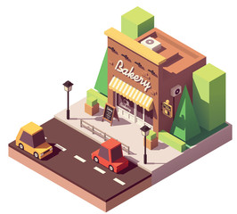 Vector isometric bakery shop