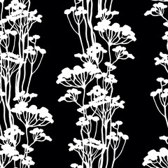 floral seamless pattern with white grass watercolor in hand drawn sketch style. Summer background on black