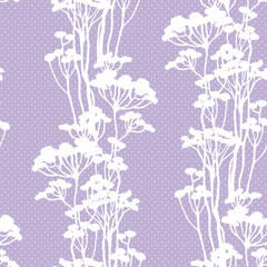floral seamless pattern with white grass watercolor in hand drawn sketch style. Summer background on purple with polka dots