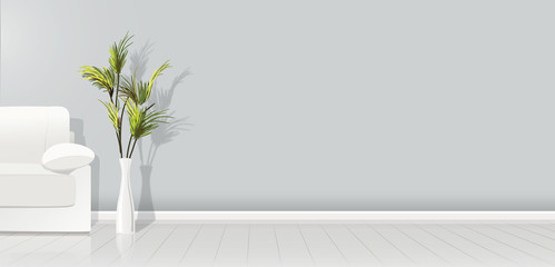 Element of architecture - vector background grey empty wall width white sofa and plant - vector illustration