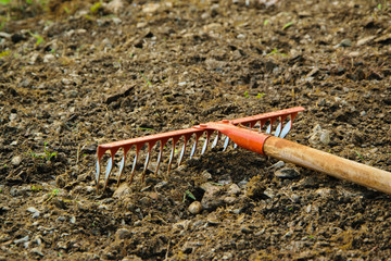 Rake in the soil, gardening/agricultural working tool, space for text