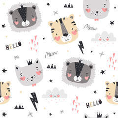 Seamless pattern with cute animals in Scandinavian style. Vector illustration