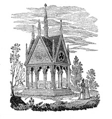 Tomb of Abelard and Héloïse in the Père Lachaise Cemetery, Paris (from Das Heller-Magazin, April 26, 1834)