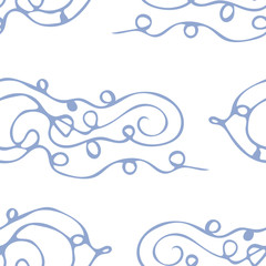 Abstract seamless pattern with hand drawn curly lines. Vector illustration.
