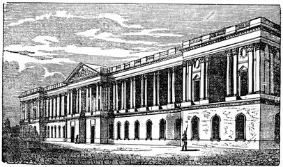 Louvre, art museum and a historic monument in Paris, France (from Das Heller-Magazin, April 19, 1834)