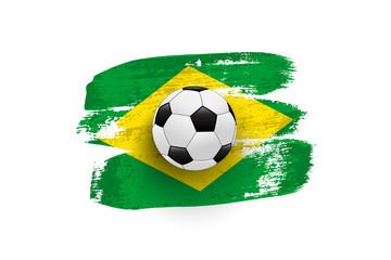 Realistic soccer ball on flag of Brazil made of brush strokes. Vector design element.