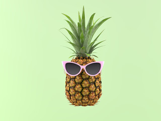 pineapple with sunglasses on a green background. 3d rendering