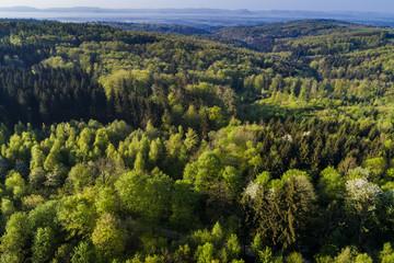 Luftaufnahme, Frühling im Schurwald, Filstal, Schwäbischer Wald, Baden Württemberg, Deutschland