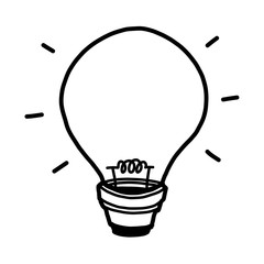 light bulb / cartoon vector and illustration, black and white, hand drawn, sketch style, isolated on white background.