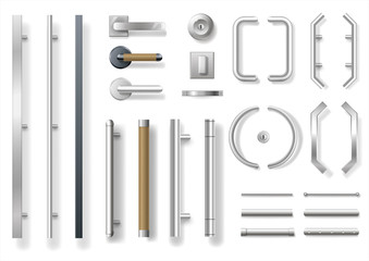 Set of modern door handles for doors or windows. Architectural details and accessories. Vector graphics