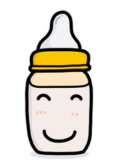smile baby milk bottle / cartoon vector and illustration, hand drawn style, isolated on white background.