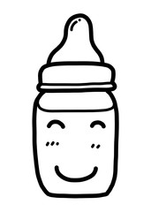 smile baby milk bottle / cartoon vector and illustration, black and white, hand drawn, sketch style, isolated on white background.