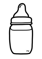 baby milk bottle / cartoon vector and illustration, black and white, hand drawn, sketch style, isolated on white background.