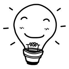 smile light bulb / cartoon vector and illustration, black and white, hand drawn, sketch style, isolated on white background.