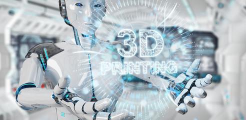 Robot white woman using 3D printing digital hologram 3D rendering