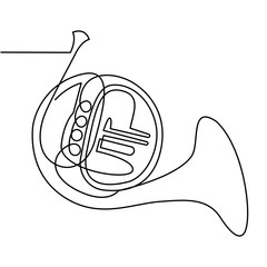 Continuous Line Drawing of Vector Brass wind musical instrument. French horn. Single line icon.