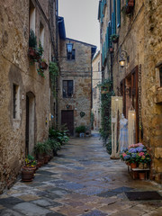 Narrow streets in the medieval town of Pienza, Tuscany
