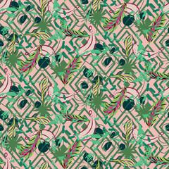 Motif éclectique de palmiers tropicaux de plantes exotiques de la jungle. Fond d& 39 écran géométrique nature vectorielle continue. Éléments géométriques avec feuilles de palmier et texture de poussière de banane verte et de pêche.