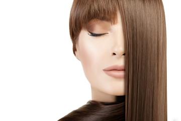 Beauty model girl with healthy straight hair. Hair salon concept