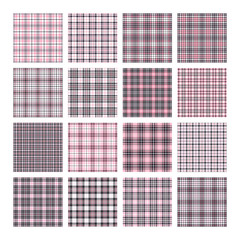 Set of 16 tartan seamless vector patterns. Checkered plaid texture. Geometrical square background for fabric