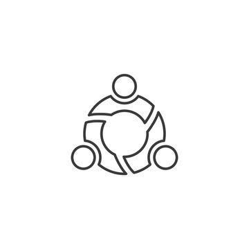 line teamwork, family icon on white background